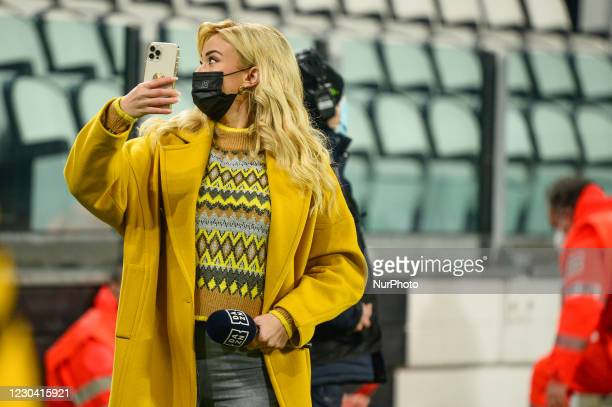 Journalist of DAZN Diletta Leotta during the Serie A match between Juventus and Udinese Calcio at Allianz Stadium on January 3, 2021 in Turin, Italy....