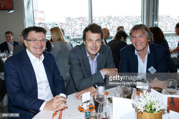 Journalist Patrick Montel Director of Sports at France Television LaurentEric Le Lay and guest attend the France Television Lunch during the 2017...