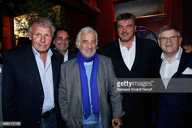 Journalist Patrick Poivre d'Arvor TV Host Laurent Fontaine Actor JeanPaul Belmondo David Douillet and CEO of Beautysane Sylvain Bonnet attend the...