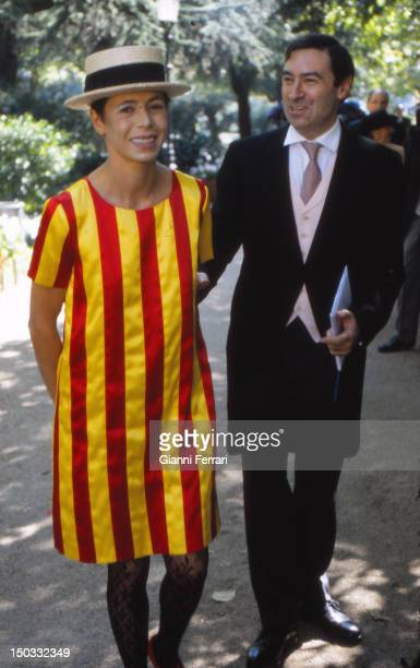Journalist Pedro J Ramirez and his wife Agatha Ruiz de la Prada at the wedding of the Infanta Cristina daughter of the Spanish Kings Juan Carlos and...
