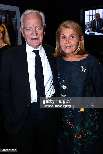 Journalist Philippe Labro and his wife Francoise Coulon attend the 'Le nouveau Stagiare' movie Premiere to Benefit 'Claude Pompidou Foundation' held...
