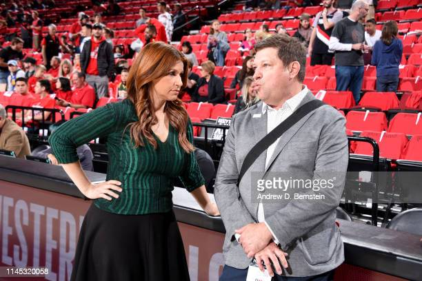 ESPN journalist Rachel Nichols and New York Times reporter Marc Stein talk before Game Four of the Western Conference Finals between the Golden State...