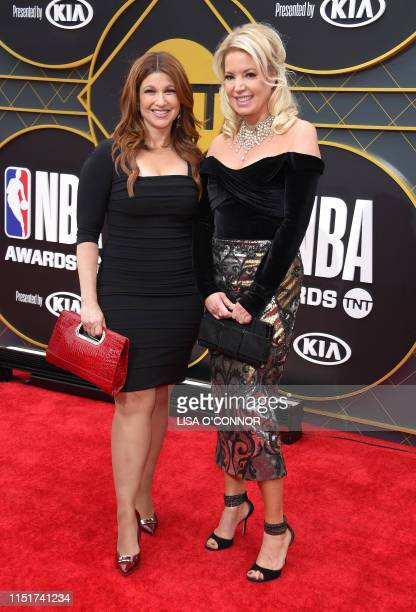 Journalist Rachel Nichols and president of the Los Angeles Lakers Jeanie Buss arrive for the 2019 NBA Awards at Barker Hangar on June 24 2019 in...