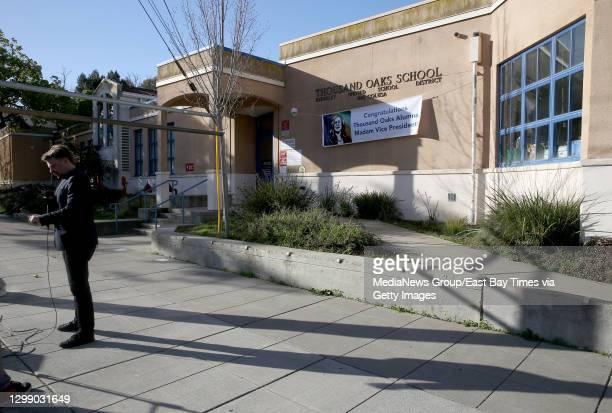 Journalist reports from the Thousand Oaks Elementary School in Berkeley, Calif., on Wednesday, Jan. 20, 2021. Joe Biden was sworn in as the 46th...