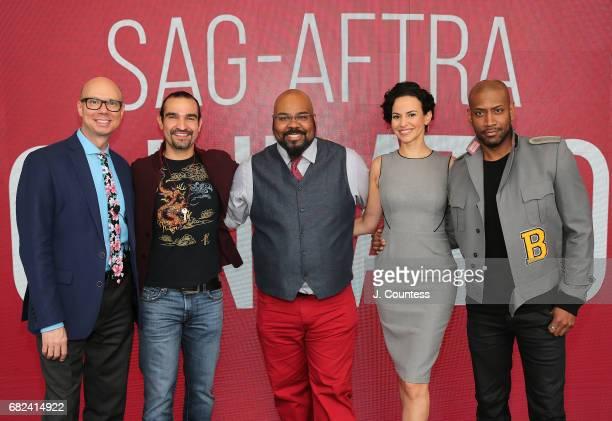 Journalist Richard Ridge actors Javier Munoz James Monroe Iglehart Mandy Gonzalez and Brandon Victor Dixon attend the SAGAFTRA Foundation...