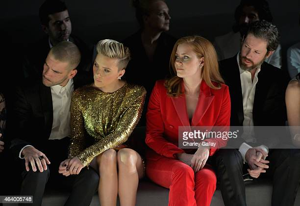 Journalist Romain Dauriac actress Scarlett Johansson actress Amy Adams and actor Darren Le Gallo attend the TOM FORD Autumn/Winter 2015 Womenswear...