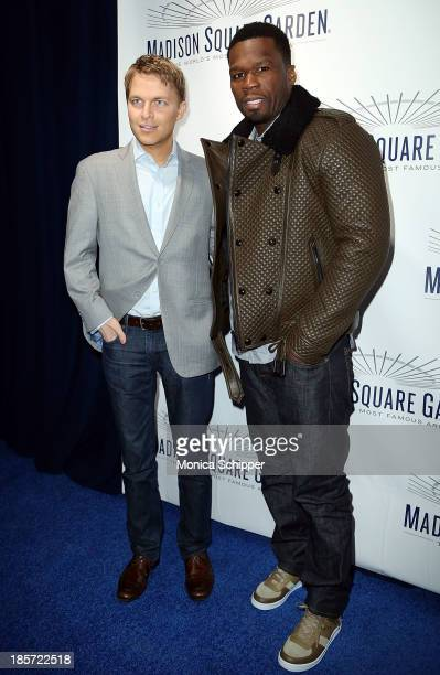Journalist Ronan Farrow and Curtis '50 Cent' Jackson attend the unveiling of Madison Square Garden on October 24 2013 in New York City