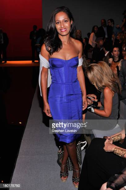 Journalist Rula Jebreal attends the Reem Acra fashion show during MercedesBenz Fashion Week Spring 2014 at The Stage at Lincoln Center on September 9...