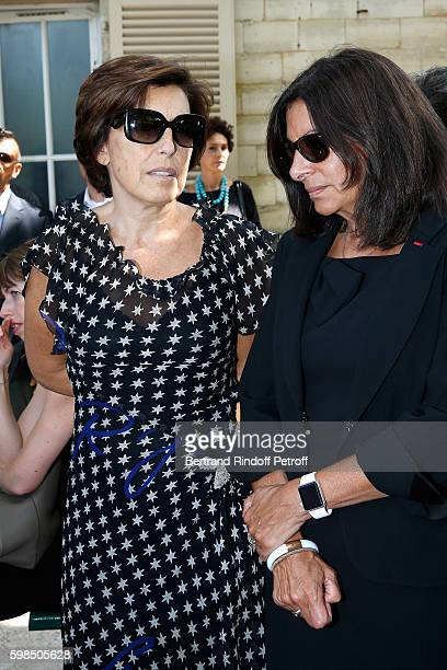 Journalist Ruth Elkrief and Mayor of Paris Anne Hidalgo attend the Designer Sonia Rykiel's Funerals at Cimetiere du Montparnasse on September 1 2016...