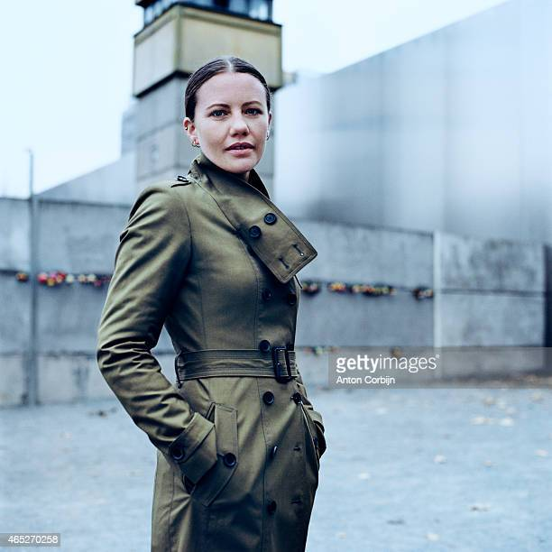 Journalist Sarah Harrison is photographed for Vogue USA on January 16, 2014 in Berlin, Germany.