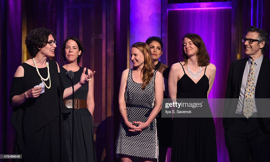 Journalist Sarah Koenig (far left) speaks onstage at The 74th Annual Peabody Awards Ceremony at Cipriani Wall Street on May 31, 2015 in New York City.