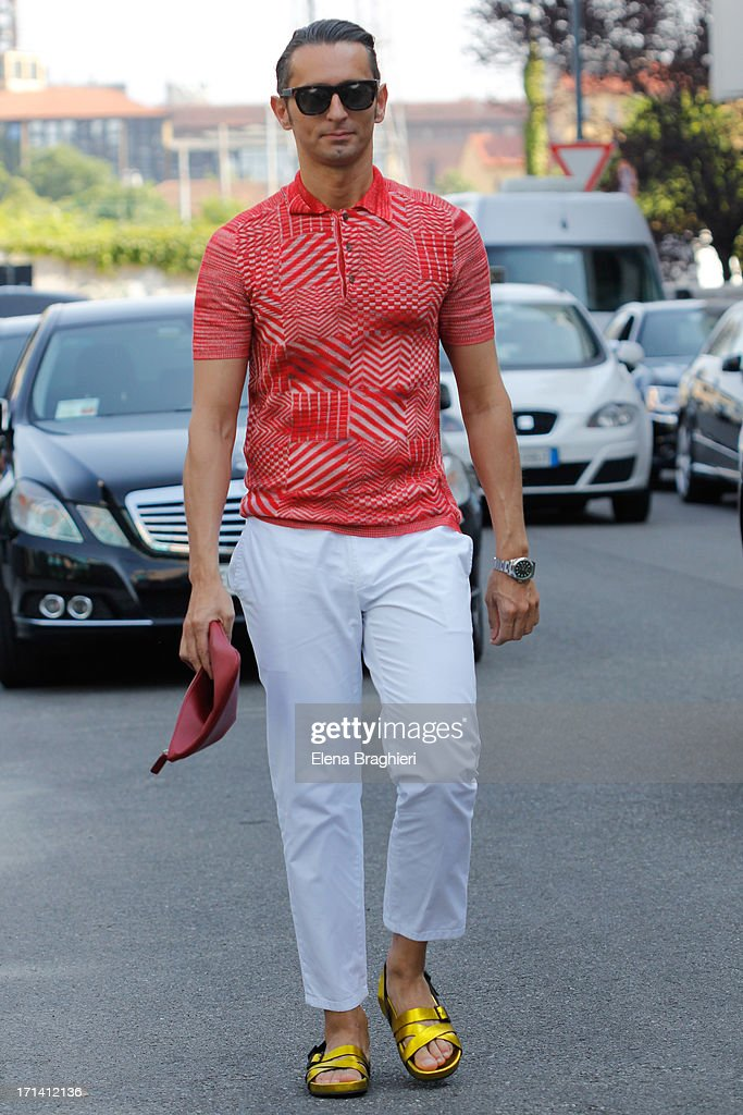 Journalist Simone Marchetti is seen at Milan Fashion Week Menswear Spring/Summer 2014 on June 23, 2013 in Milan, Italy