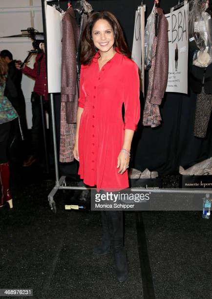 Journalist Soledad O'Brien poses backstage at the Nanette Lepore fashion show during MercedesBenz Fashion Week Fall 2014 at The Salon at Lincoln...