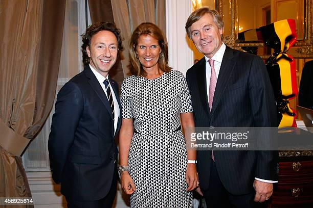 Journalist Stephane Bern Belgium Ambassador Patrick Vercauteren Drubbel and his wife Alexandra attend the Cocktail Party for the 'King of Belgium's...