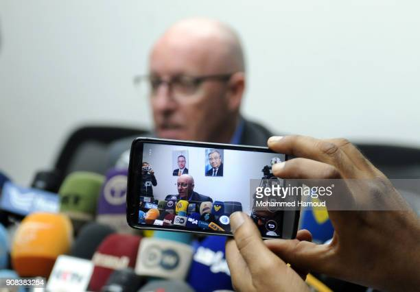 A Journalist takes a mobilephoto of the United Nations Humanitarian Coordinator in Yemen Jamie McGoldrick as he speaks during a press conference on...