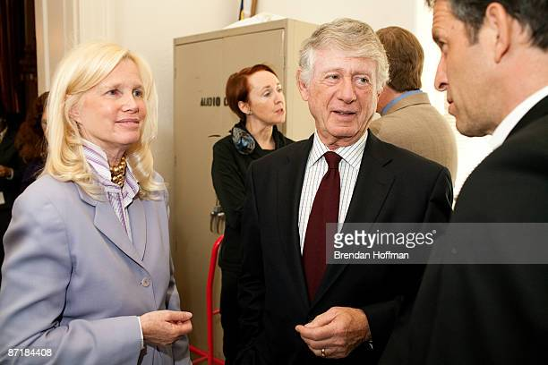 Journalist Ted Koppel speaks backstage with amfAR board chairman Kenneth Cole and Dr Susan Blumenthal at a forum on HIV/AIDS on Capitol Hill on May...