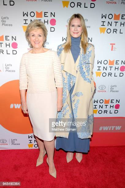 Journalist Tina Brown and actor Stephanie March attend the 2018 Women In The World Summit at Lincoln Center on April 12 2018 in New York City