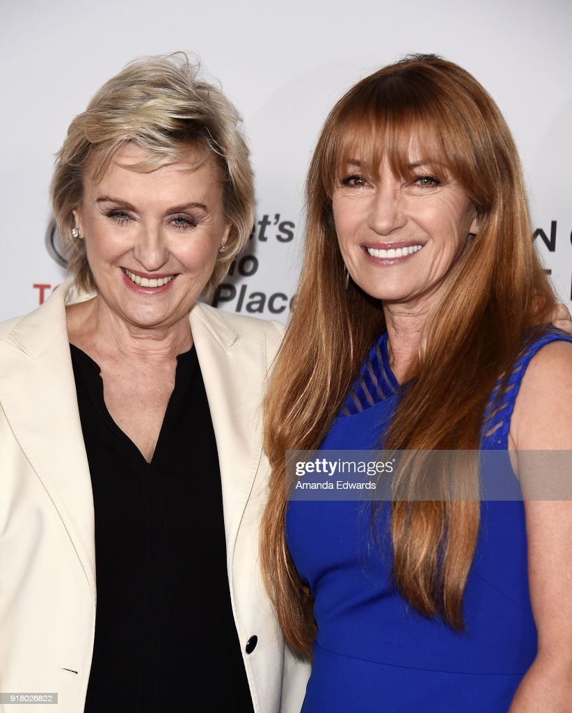 Journalist Tina Brown (L) and actress Jane Seymour arrive at the 2018 Women In The World Los Angeles Salon at NeueHouse Hollywood on February 13, 2018 in Los Angeles, California.