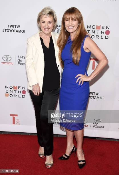 Journalist Tina Brown and actress Jane Seymour arrive at the 2018 Women In The World Los Angeles Salon at NeueHouse Hollywood on February 13 2018 in...