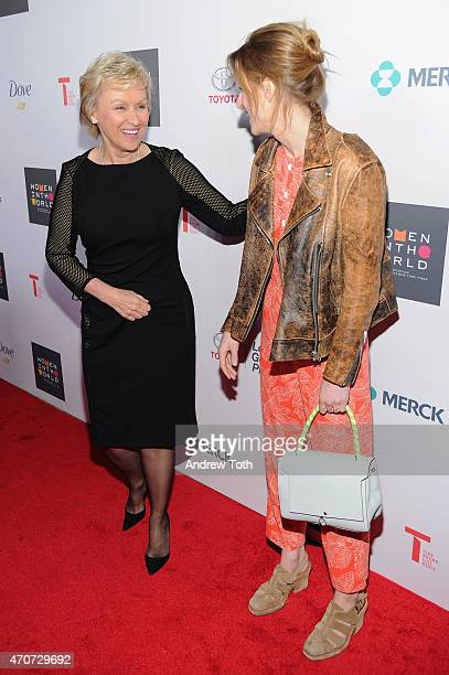 Journalist Tina Brown and actress Mamie Gummer attend the Women In World Summit at the David H Koch Theater at Lincoln Center on April 22 2015 in New...