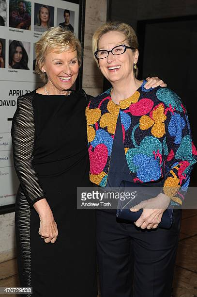Journalist Tina Brown and actress Meryl Streep attend the Women In World Summit at the David H Koch Theater at Lincoln Center on April 22 2015 in New...