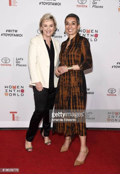 Journalist Tina Brown and Women in the World Editor at Large Zainab Salbi arrive at the 2018 Women In The World Los Angeles Salon at NeueHouse...