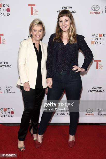 Journalist Tina Brown and writer Emily V Gordon arrive at the 2018 Women In The World Los Angeles Salon at NeueHouse Hollywood on February 13 2018 in...