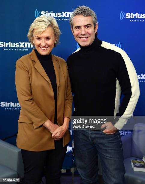 Journalist Tina Brown poses with SiriusXM host Andy Cohen at the SiriusXM Studios on November 8 2017 in New York City