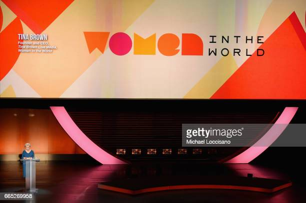 Journalist Tina Brown speaks during the Eighth Annual Women In The World Summit at Lincoln Center for the Performing Arts on April 6 2017 in New York...
