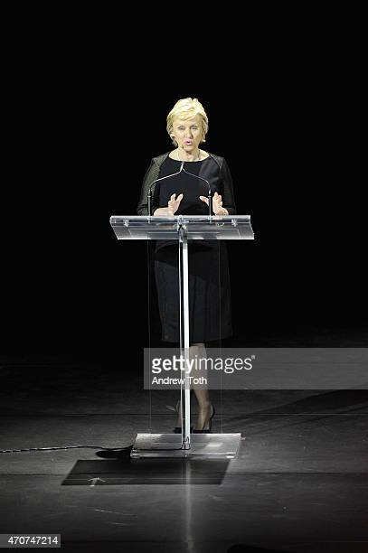 Journalist Tina Brown speaks onstage during the Women In World Summit at the David H Koch Theater at Lincoln Center on April 22 2015 in New York City