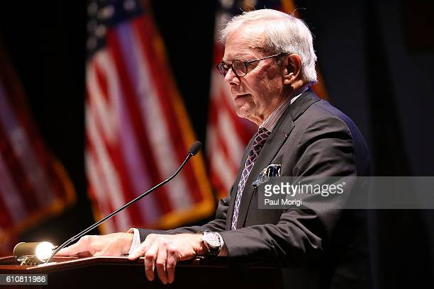 Journalist Tom Brokaw speaks at the launch of the Elizabeth Dole Foundation's Hidden Heroes campaign at US Capitol Visitor Center on September 27...