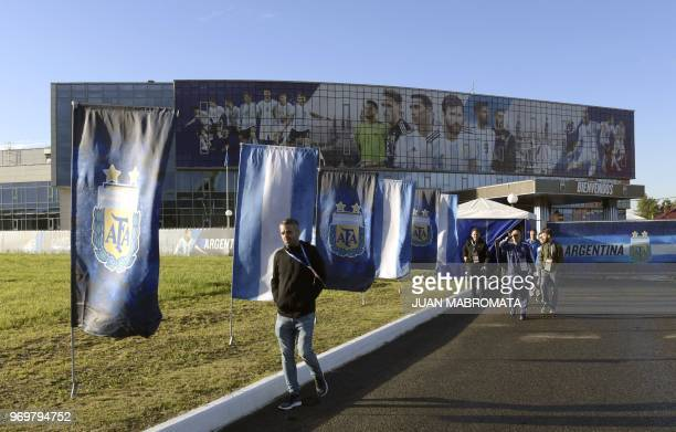 Journalist walks at the entrance of Argentina's base camp on June 8 2018 in Bronnitsy near Moscow ahead of the Russia 2018 World Cup Argentina...