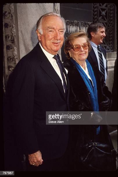 Journalist Walter Cronkite attends a memorial service for broadcasting executive William Paley November 12 1990 in New York City Paley founded the...
