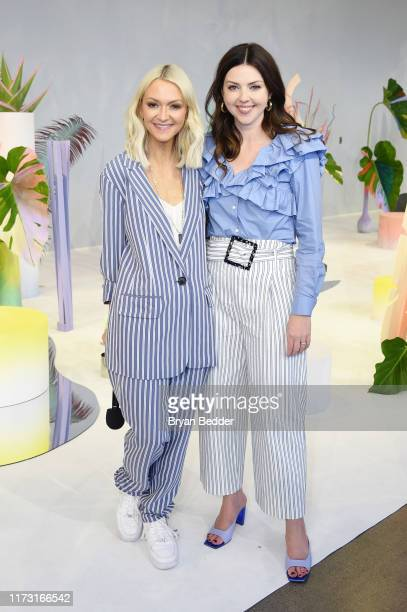 Journalist Zanna Roberts Rassi and Designer Tanya Taylor pose in the E studio during NYFW The Shows at Spring Studios on September 08 2019 in New...