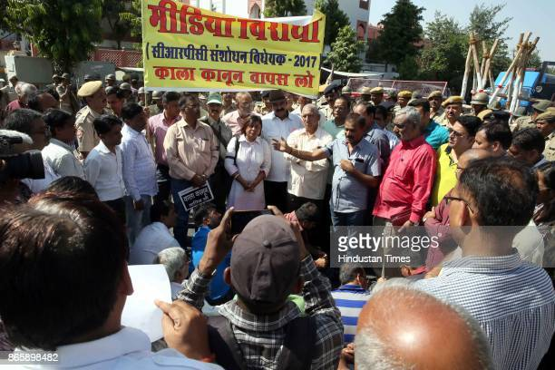 Journalists against The Criminal Laws Ordinance on October 24 2017 in Jaipur India It seeks to protect serving and former judges magistrates and...