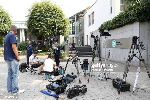 Journalists and camera crews wait at the DFB Headquarter on July 23 2018 in Frankfurt am Main Germany