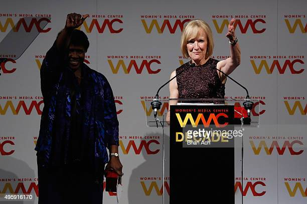 Journalists and honorees Judy Woodruff and Gwen Ifill accept Lifetime Achievement Awards onstage at The Women's Media Center 2015 Women's Media...