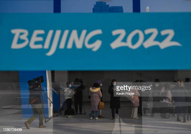 Journalists and staff visit the National Speed Skating Oval, a new venue built for the 2021 Beijing Winter Olympics, during an organized tour on...