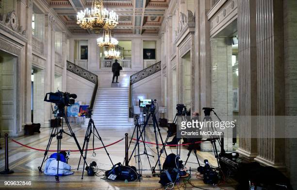 Journalists and television crews await developments in the great hall at Stormont on January 24 2018 in Belfast Northern Ireland NI Secretary of...