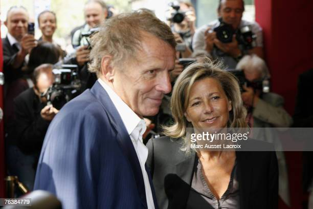 Journalists and TV anchors Patrick Poivre D'arvor and Claire Chazal arrive at the TF1 annual press conference held at the Olympia on August 29 2007...