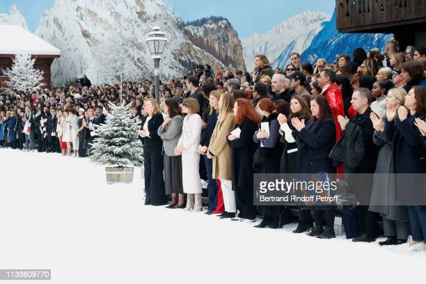 Journalists Anna Wintour and Grace Coddington attend the Chanel show as part of the Paris Fashion Week Womenswear Fall/Winter 2019/2020 on March 05...
