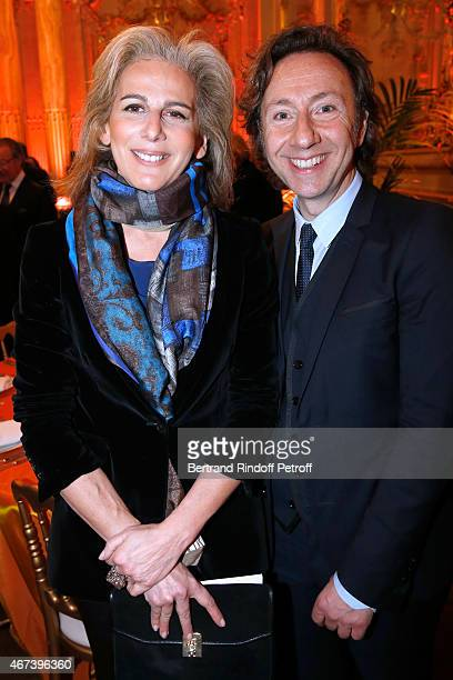 Journalists Anne Fulda and Stephane Bern attend the 'Societe des Amis du Musee D'Orsay' Dinner Party at Musee d'Orsay on March 23 2015 in Paris France
