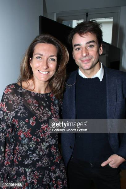 Journalists AnneClaire Coudray and Julian Bugier attend the Levons le Doigt pour l'Education des Filles Closing Conference at We Are on January 30...