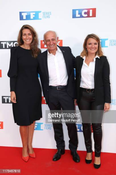 Journalists AnneClaire Coudray JeanMichel Aphatie and Pascale de La Tour du Pin attend the Groupe TF1 Photocall at Palais de Tokyo on September 09...