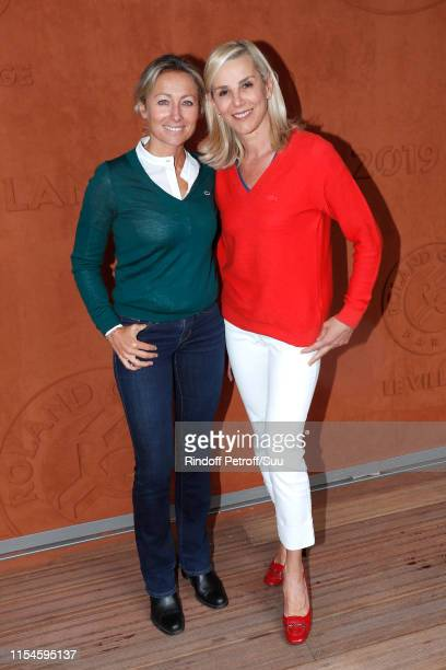 Journalists AnneSophie Lapix and Laurence Ferrari attend the 2019 French Tennis Open Day Fourteen at Roland Garros on June 08 2019 in Paris France