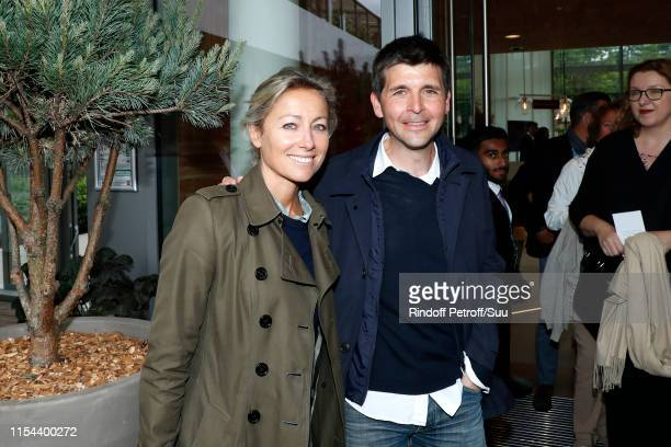 Journalists AnneSophie Lapix and Thomas Sotto attend the 2019 French Tennis Open Day Thirteen at Roland Garros on June 07 2019 in Paris France