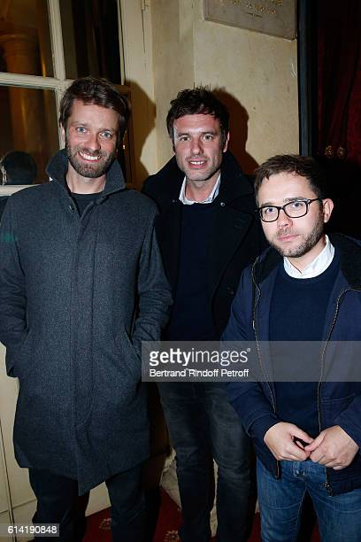 Journalists Antoine Genton Igor Sahiri and Julien Arnaud attend the A Droite A Gauche Theater Play at Theatre des Varietes on October 12 2016 in...