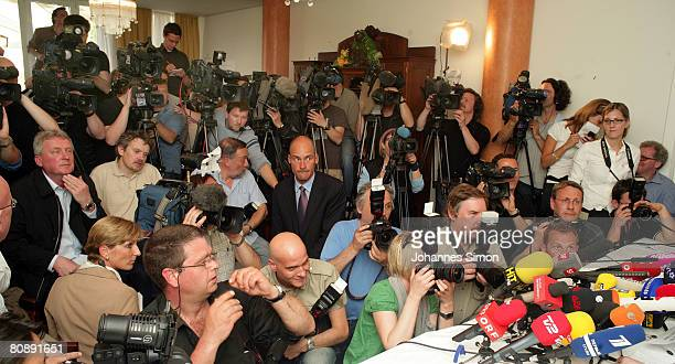 Journalists are seen during a press conference at Hotel Exel over the case of 24 yearlong capture and incestuous abuse of woman by her own father on...