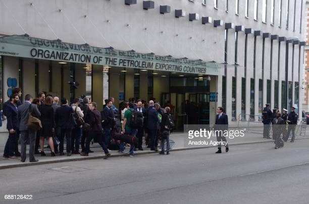 Journalists are seen outside the OPEC Headquarters as the 172nd Organization of Petroleum Exporting Countries meeting is held in Vienna Austria on...