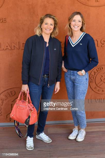 Journalists Astrid Bard and Isabelle Ithurburu attend the 2019 French Tennis Open Day Twelve at Roland Garros on June 06 2019 in Paris France